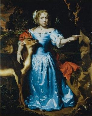 Maes 1671 Portrait of a girl as Granida, in a blue silk dress with two deer coll priv