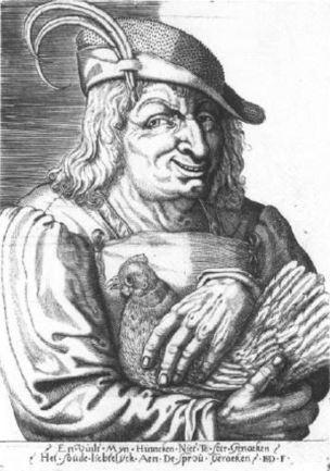 Monogrammist ISD Paysan avec une poule Amsterdam, Rijksprentenkabinet
