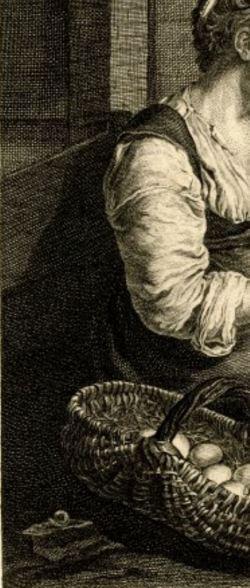 van Mieris Frans (I) 1655-57 The broken egg Ermitage gravure de Pierre Etienne Moitte 1754 escargot