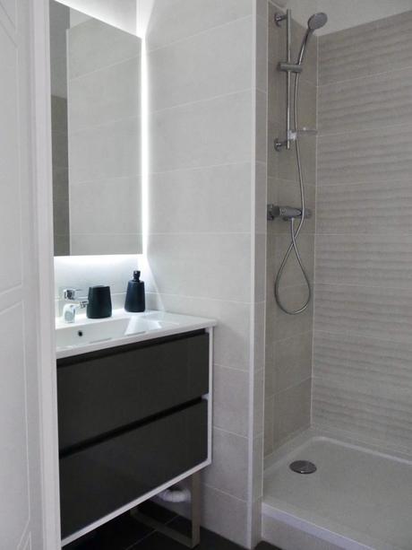 salle de bain aménagement douche italienne 3m2 grise