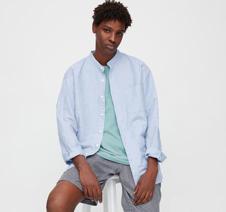 Chemise en lin pour homme col montant - Uniqlo
