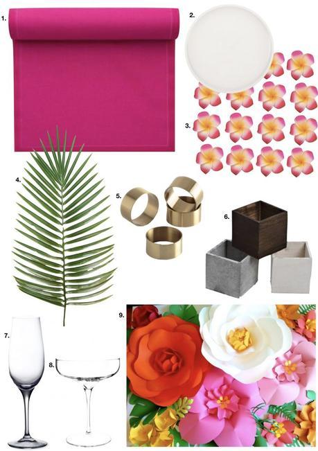 table style jungle feuille palmier set table rose verre vin rond serviette or - blog déco - clem around the corner