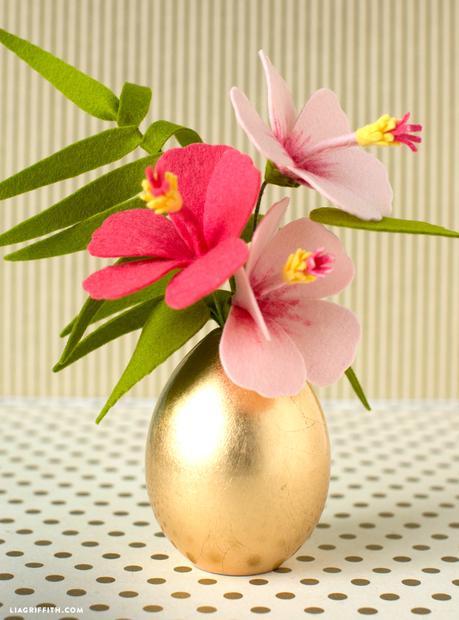 bouquet ikebana fleurs feutre laine pot doré diy bricolage - blog bricolage déco