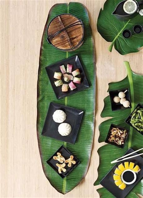 table style jungle rustique dessous plat feuille tropicale verte - blog déco - clem around the corner