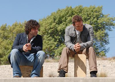 "NUMB3RS - David Krumholtz as Charlie and Dylan Bruno as Colby in ""Primacy"""