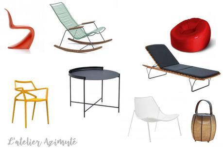 Place au mobilier design au jardin