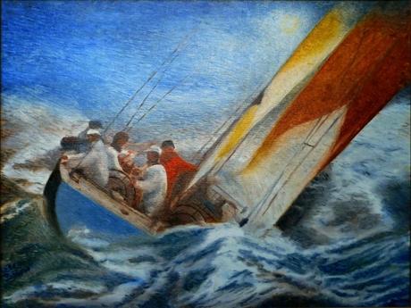 Le voilier star and stripes, peinture de Serge Boisse