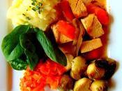 Ragoût tofu l'érable avec purée pommes terre choux Bruxelles