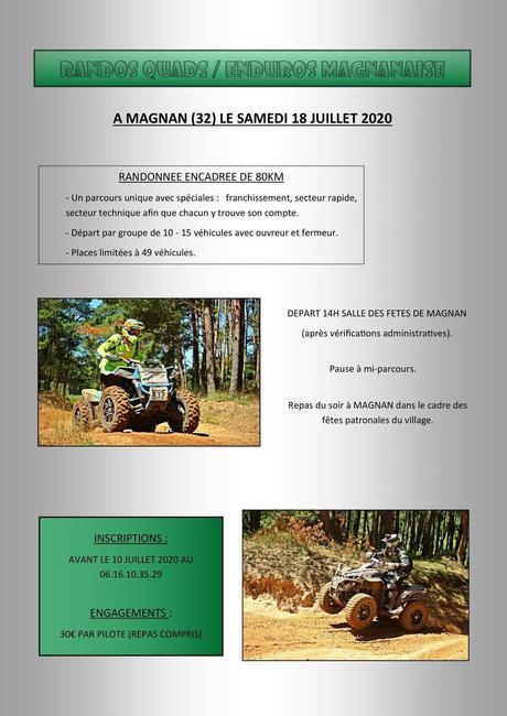 Rando quads et motos du comité des fêtes de Magnan (32), le samedi 18 juillet 2020