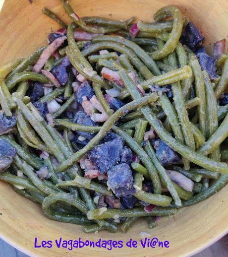 Salade haricots verts, pommes de terre vitelottes et lardons