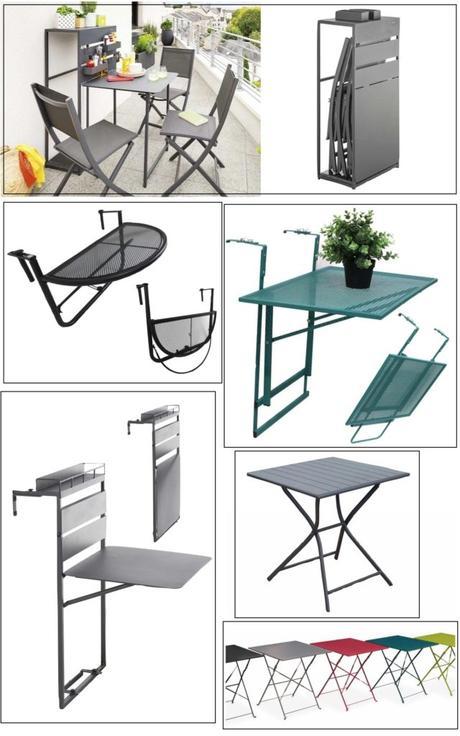 table pliante aménagement balcon longueur étroit
