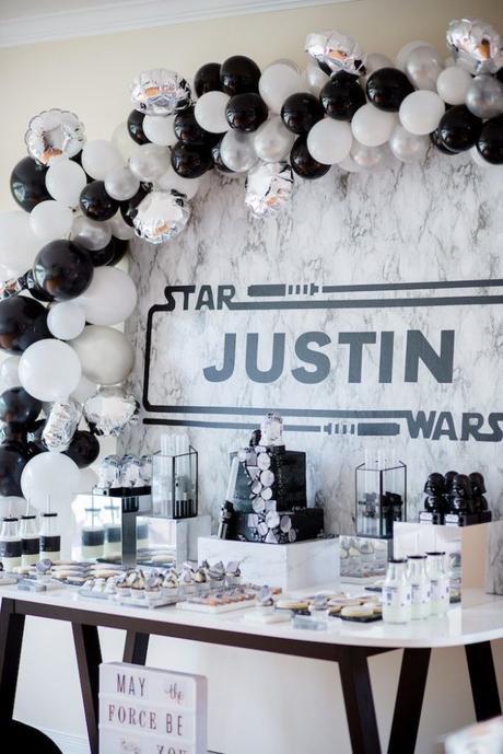 anniversaire thème star wars monochromatique noir et blanc argenté goûter idée original - blog déco - clem around the corner