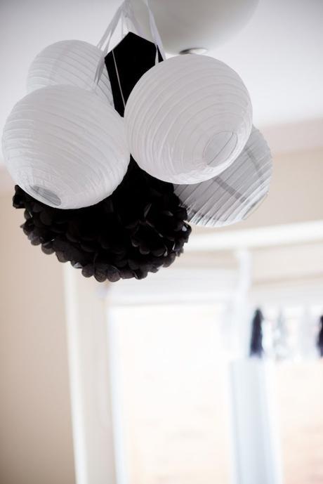 anniversaire thème star wars idée décoration simple lustre papier noir blanc - blog déco - clem around the corner
