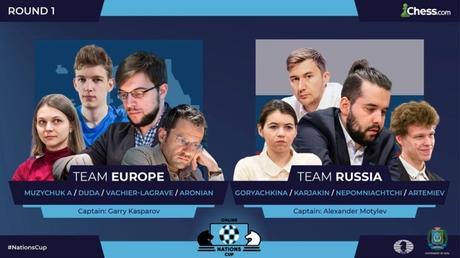 Le Français Maxime Vachier-Lagrave dans l'équipe européenne (Moyenne Elo rapide : 2687) coachée par Kasparov himself
