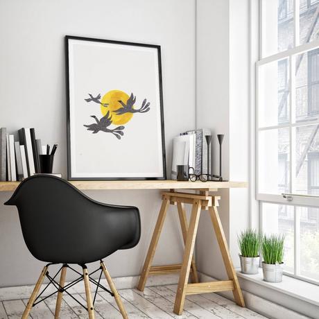 coin bureau atelier architecte bois tréteaux chaise coque plastique noire maison