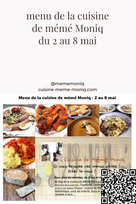 menus de la semaine du 2 au 8 mai