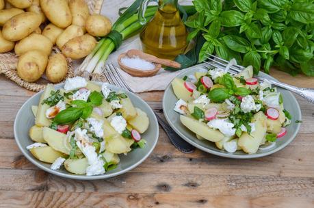 Salade de pommes de terre nouvelles au basilic et mozzarella di buffala