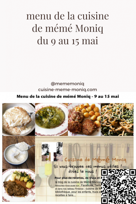 menus de la semaine du 9 au 15 mai