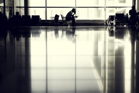Aéroport, Personne, En Attente, Silhouette, Séance
