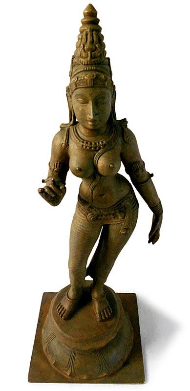 Vintage Hindu Goddess Parvati Chola Bronze Statue