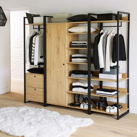 meuble chambre adolescente fille dressing modulable penderie ouverte métal bois