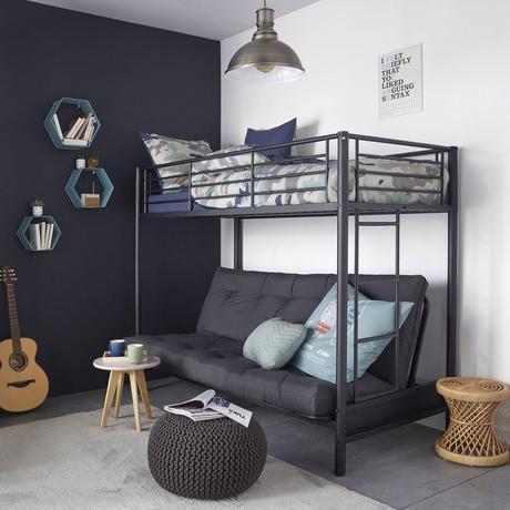 aménager chambre ado garçon grise lit mezzanine canapé convertible