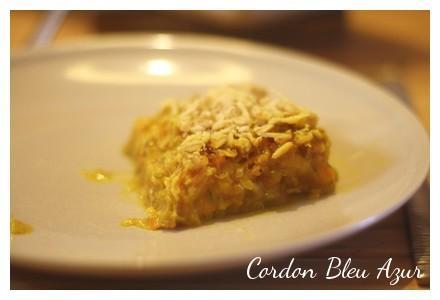 Crumble à l'huile d'olive poireaux carottes et saumon