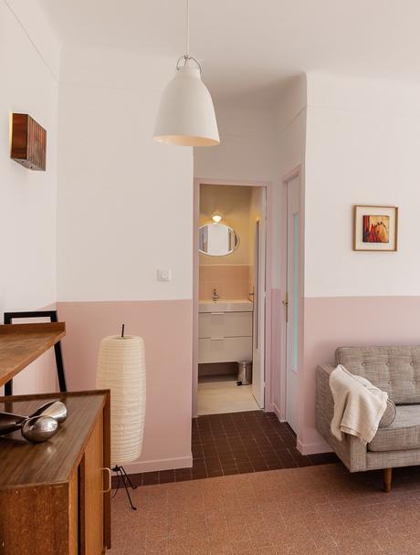 Fernand Pouillon architecte salon meuble scandinave rétro buffet peinture ressource vieux rose
