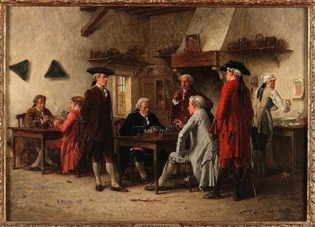 Illustration : les joueurs d'échecs 1881 de Benjamin Eugene Fichel