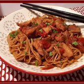 Nouilles chinoises au poulet avec le cookéo - Oh, la gourmande..