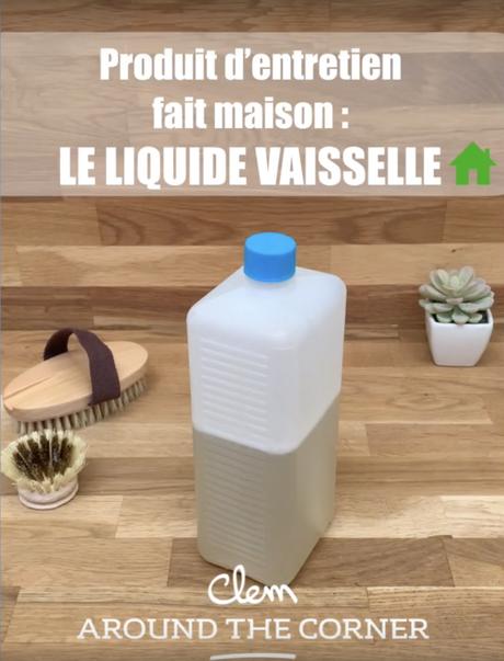 zéro déchet bouteille plastique blanc recette maison liquide vaisselle brosse bois - blog déco - clem around the corner
