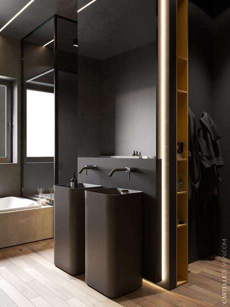 salle de bain noire grise foncé vasque pied cielo - blog décoration - clematc