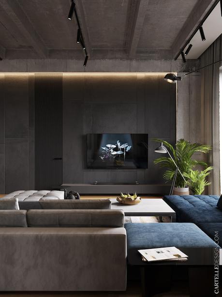 salon mur noir gris anthracite canapé bleu foncé décoration masculine
