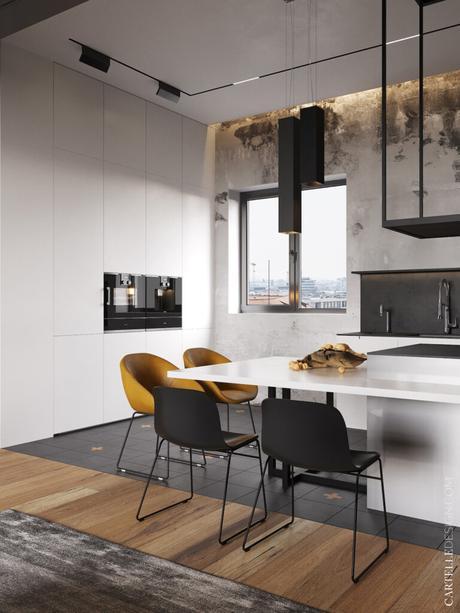 cuisine blanche grise style industrielle ilot double niveau