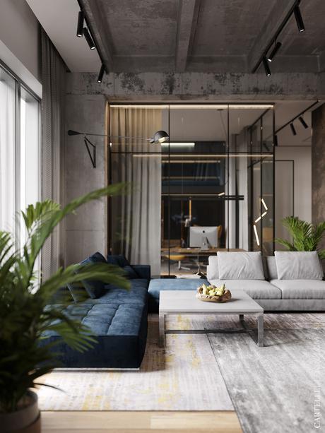 loft à Moscou verrière béton acier - blog décoration - clem around the corner