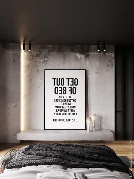 chambre parent loft 130m2 affiche get out of bed