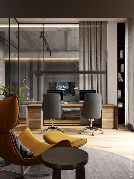 espace télétravail maison loft à Moscou verrière salon design moderne
