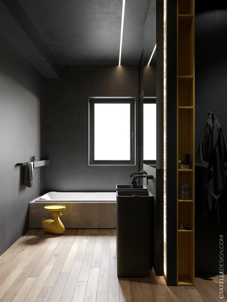 salle de bain noire baignoire béton table basse en forme de canard jaune plastique parquet