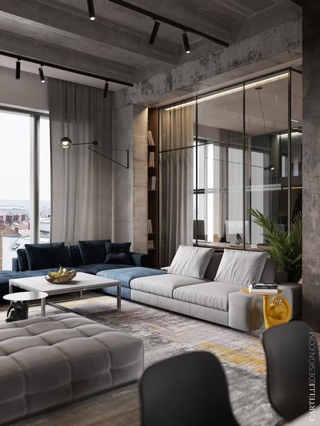 loft à Moscou salon gris bleu canapé modulable mur béton