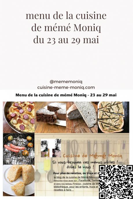 menus de la semaine du 23 au 29 mai