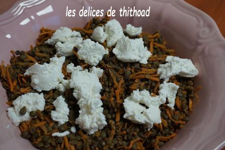 Salade de lentilles, carottes et chèvre frais