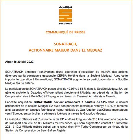 Sonatrach devient actionnaire majoritaire du gazoduc Medgaz