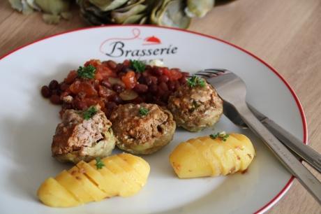 artichaut, bœuf, azukis, pomme de terre
