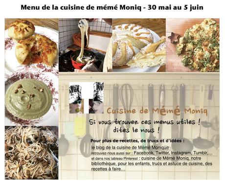 menus de la semaine du 30 mai au 5 juin