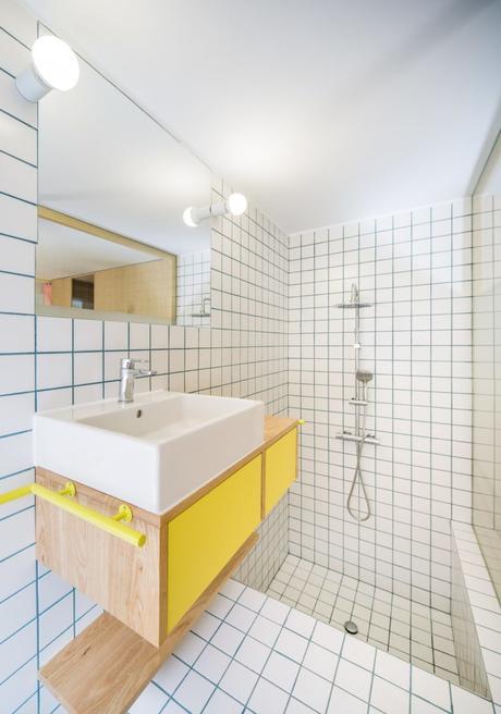 32m2 studio madrid vert menthe salle de bain carreaux de ciment douche bain - blog déco - clemATC