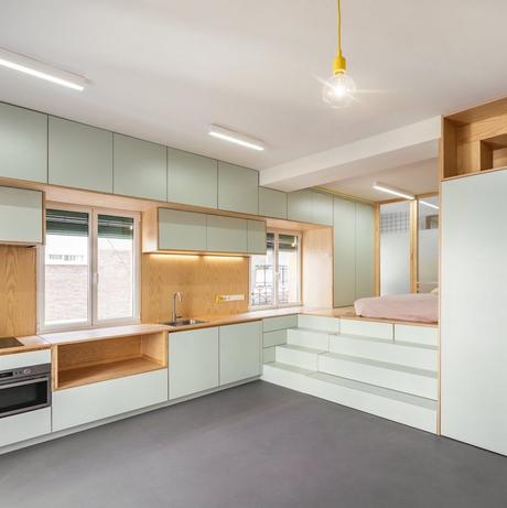 Visite d un 32m2 au coeur de Madrid studio appartement vert menthe aménagé - blog déco - clemaroundthecorner décoration