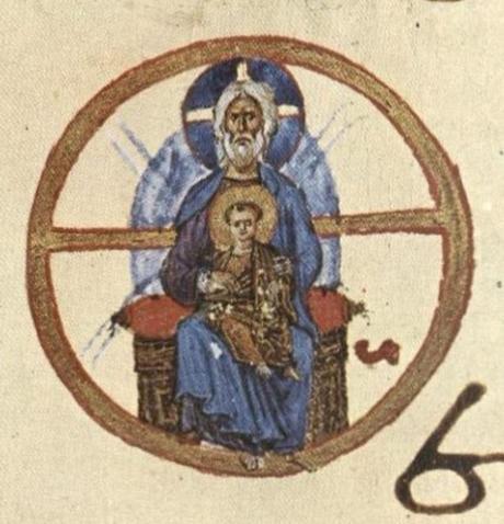 Lectionary, painted vellum, cod. 587, fol. 3v, eleventh century. Dionysiou Monastery, Mount Athos, Greece