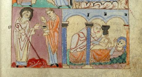 Administration du Viatique Premiere vie de saint Amand 1066-1107 BM Valenciennes MS 502 fol 29