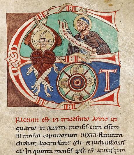 Incipit Ezechiel Propheta, initiale E de 'Et factum est', Bible de Lobbes, Tournai, 1084, Codex Biblia Sacra, fol-229