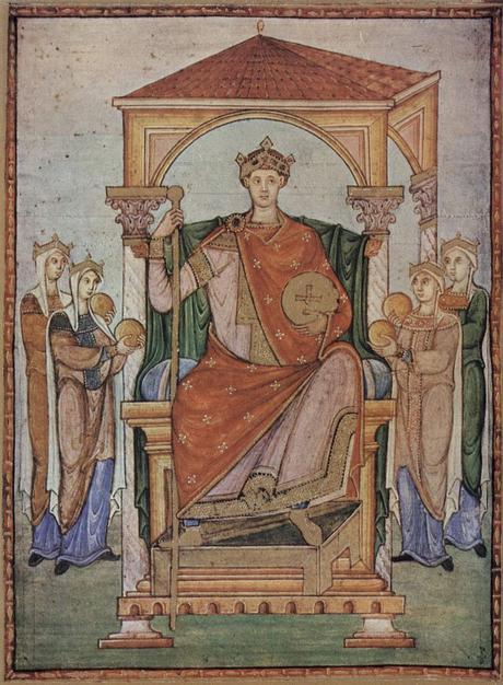 985 ca Registrum Gregorii, Szene Kaiser Otto II., mit den Symbolen der vier Teile seines Reiches musee Conde